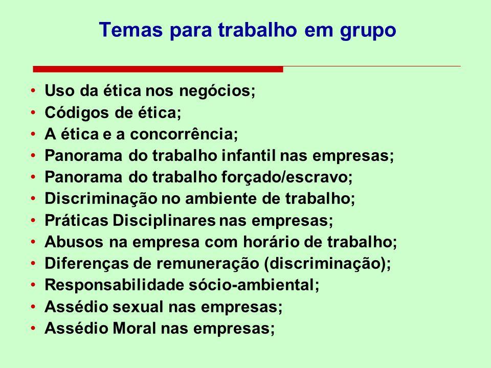 Temas para trabalho em grupo
