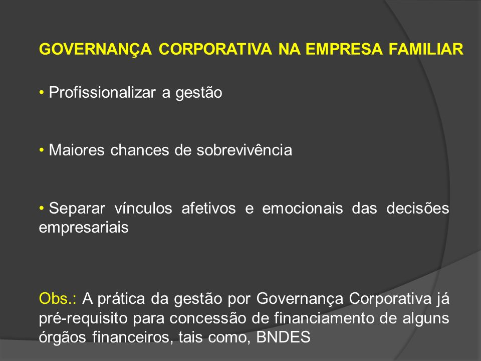 GOVERNANÇA CORPORATIVA NA EMPRESA FAMILIAR
