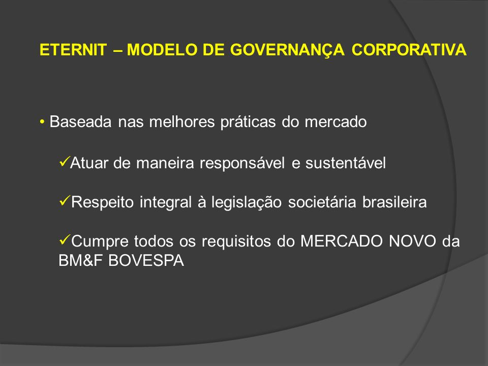 ETERNIT – MODELO DE GOVERNANÇA CORPORATIVA