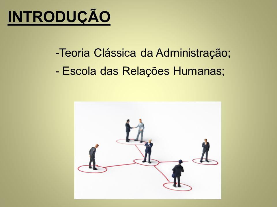 INTRODUÇÃO Teoria Clássica da Administração;