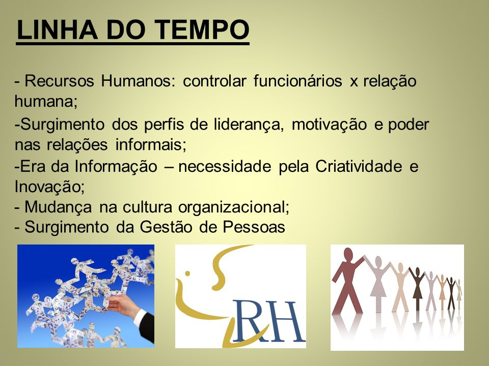 LINHA DO TEMPO Recursos Humanos: controlar funcionários x relação humana;