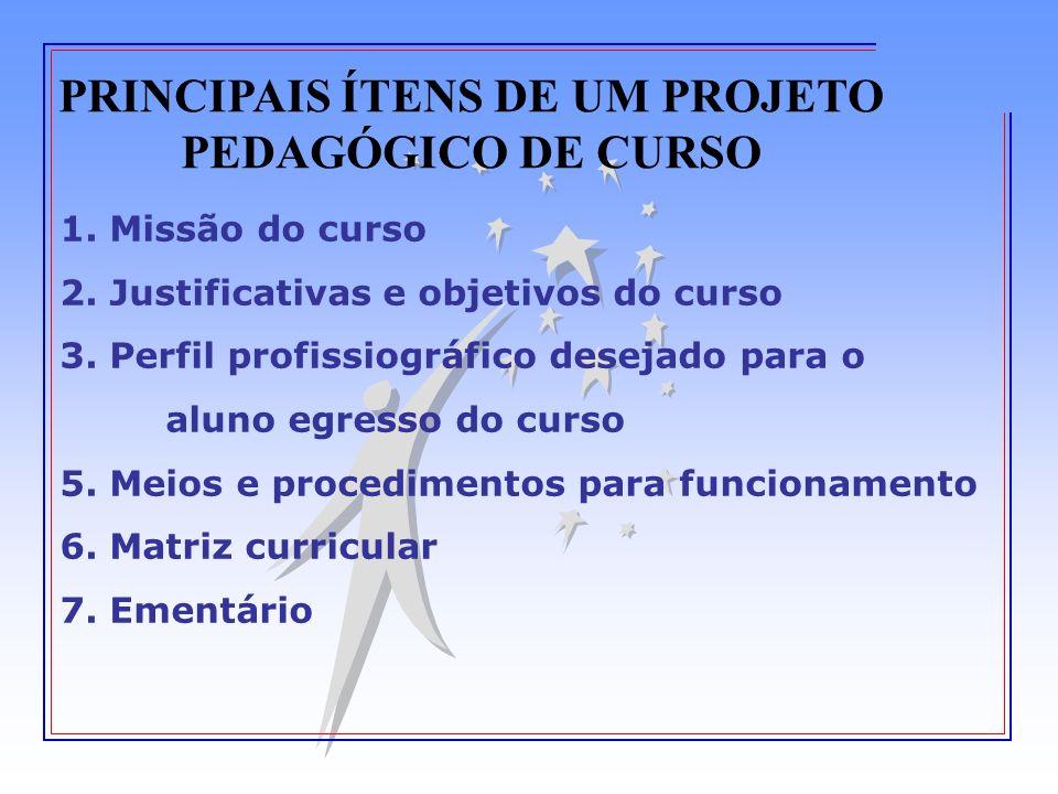 PRINCIPAIS ÍTENS DE UM PROJETO PEDAGÓGICO DE CURSO