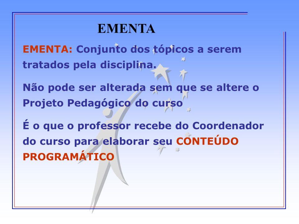 EMENTA EMENTA: Conjunto dos tópicos a serem tratados pela disciplina.
