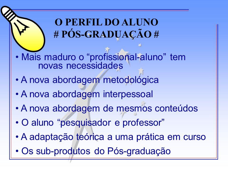 O PERFIL DO ALUNO # PÓS-GRADUAÇÃO #