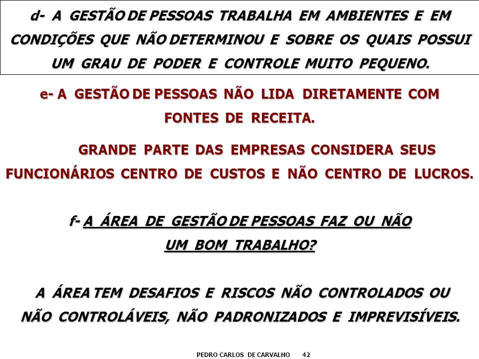 e- A GESTÃO DE PESSOAS NÃO LIDA DIRETAMENTE COM FONTES DE RECEITA.