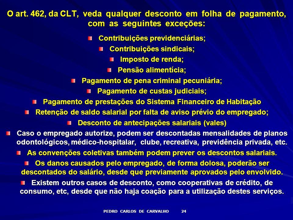 O art. 462, da CLT, veda qualquer desconto em folha de pagamento, com as seguintes exceções: