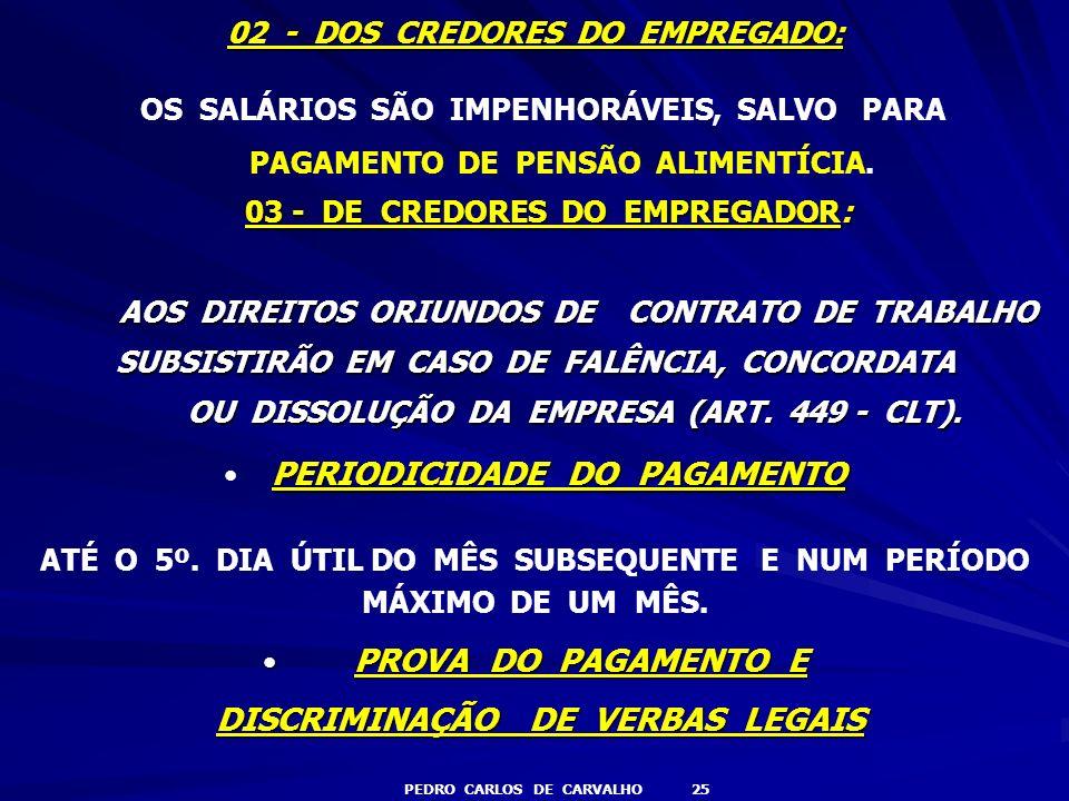 DISCRIMINAÇÃO DE VERBAS LEGAIS