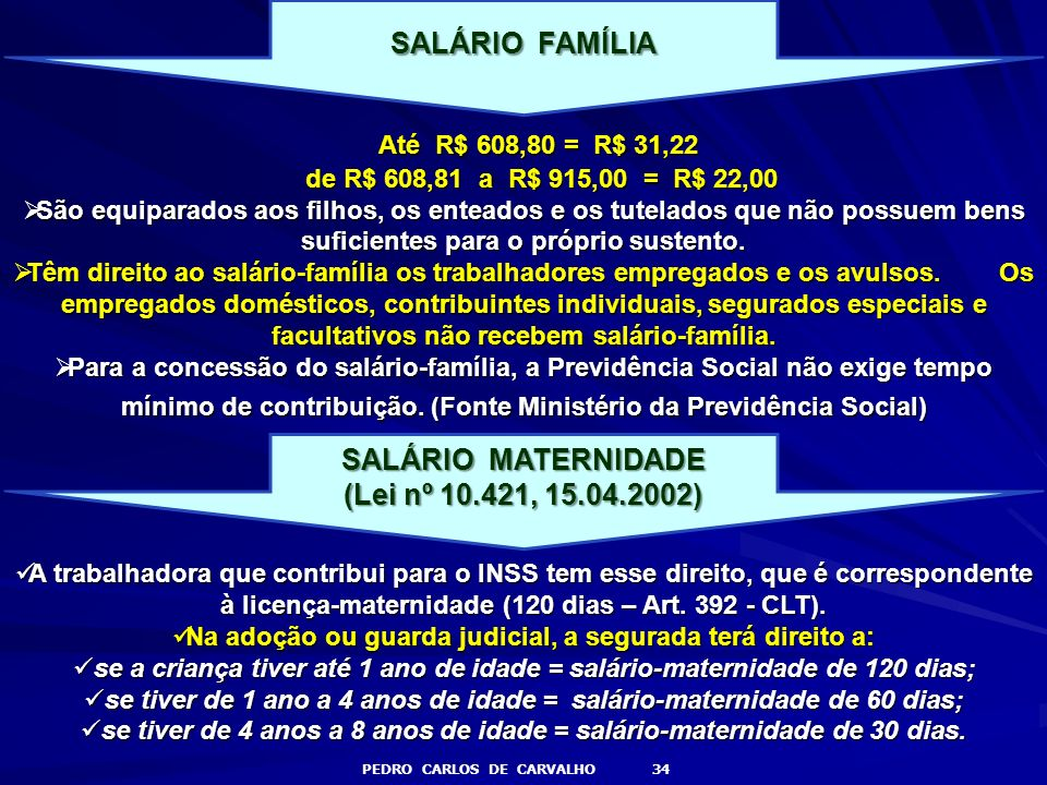Até R$ 608,80 = R$ 31,22 SALÁRIO FAMÍLIA