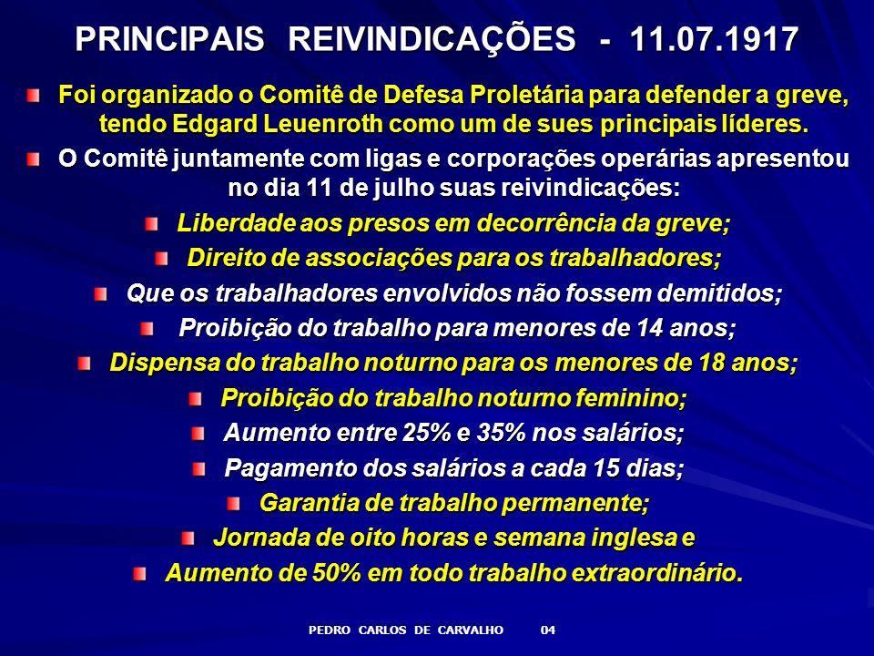 PRINCIPAIS REIVINDICAÇÕES - 11.07.1917
