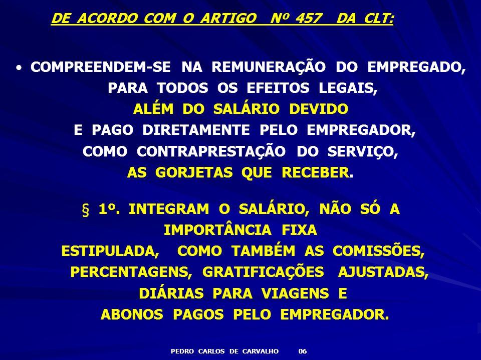 DE ACORDO COM O ARTIGO Nº 457 DA CLT: