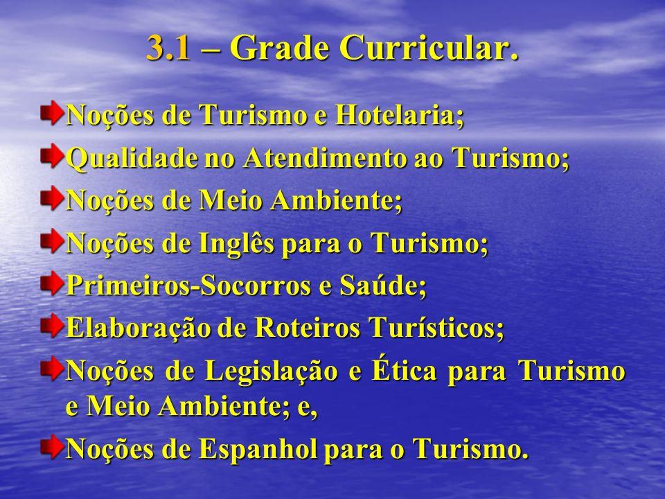 3.1 – Grade Curricular. Noções de Turismo e Hotelaria;