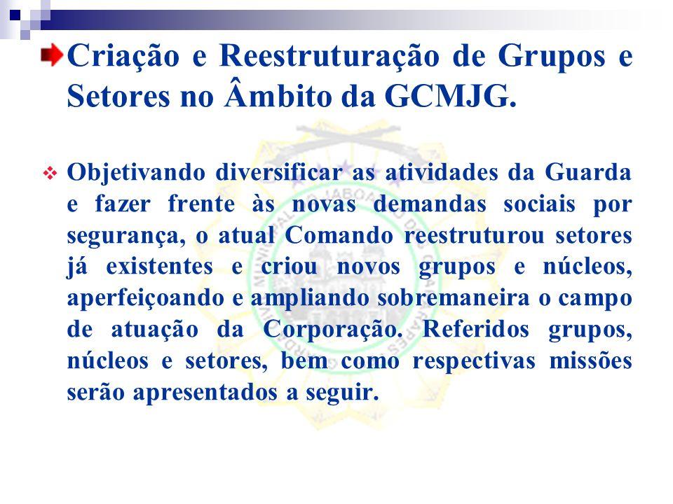 Criação e Reestruturação de Grupos e Setores no Âmbito da GCMJG.