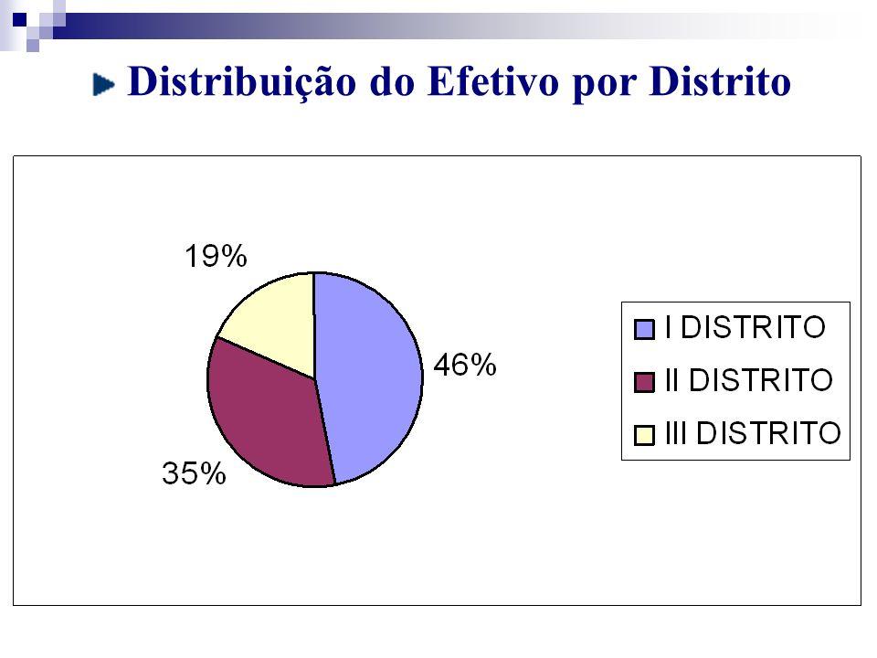 Distribuição do Efetivo por Distrito