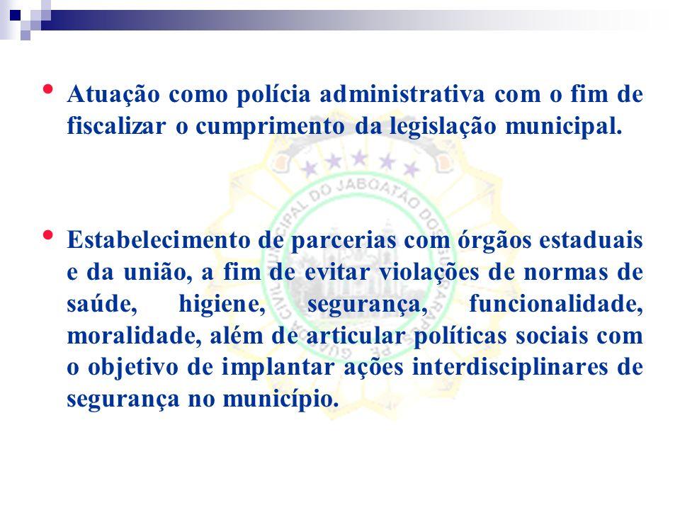 Atuação como polícia administrativa com o fim de fiscalizar o cumprimento da legislação municipal.