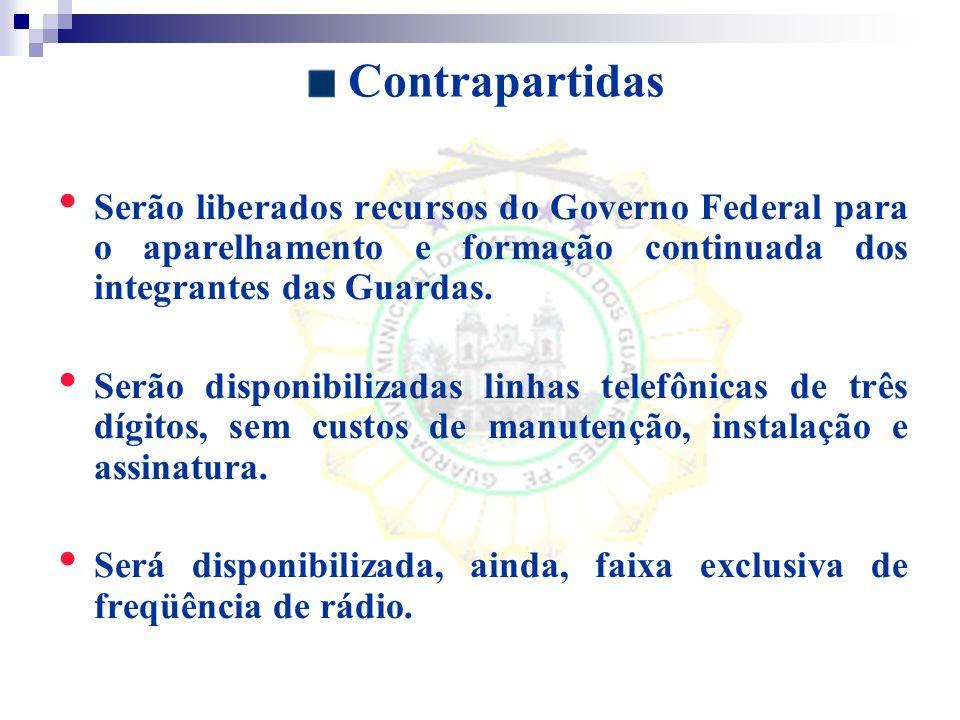 Contrapartidas Serão liberados recursos do Governo Federal para o aparelhamento e formação continuada dos integrantes das Guardas.