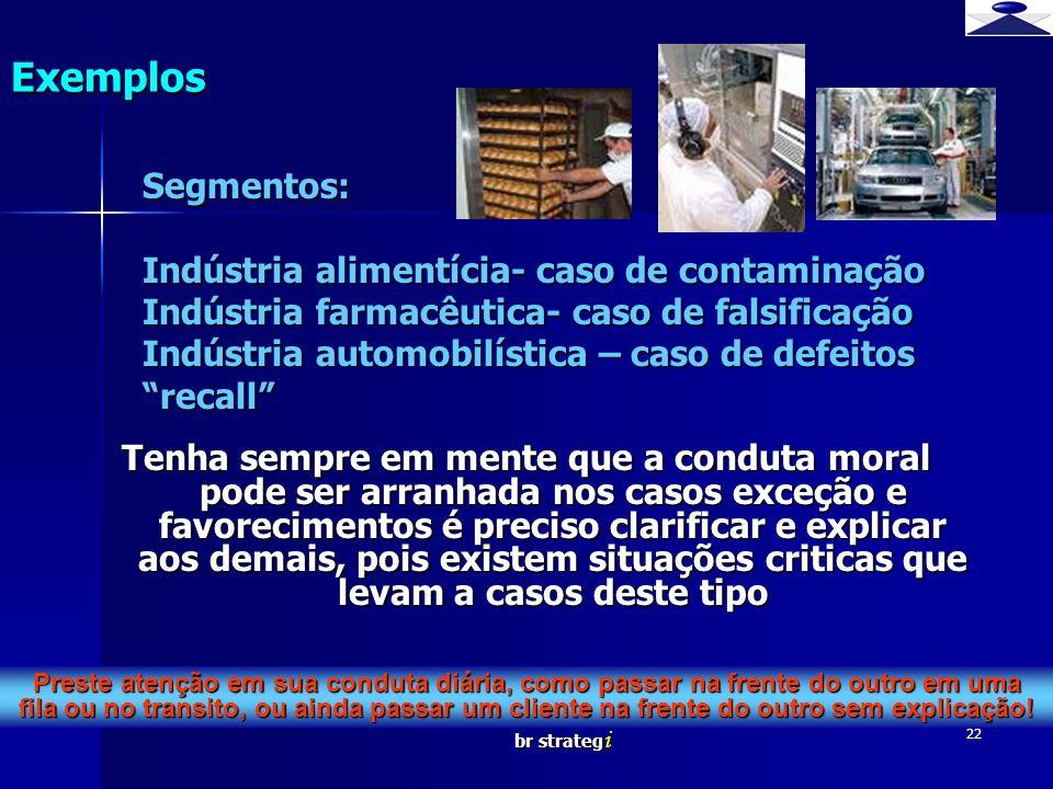 Exemplos Segmentos: Indústria alimentícia- caso de contaminação