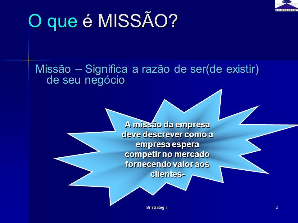 O que é MISSÃO Missão – Significa a razão de ser(de existir) de seu negócio.