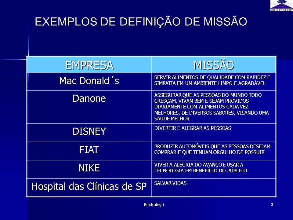 EXEMPLOS DE DEFINIÇÃO DE MISSÃO