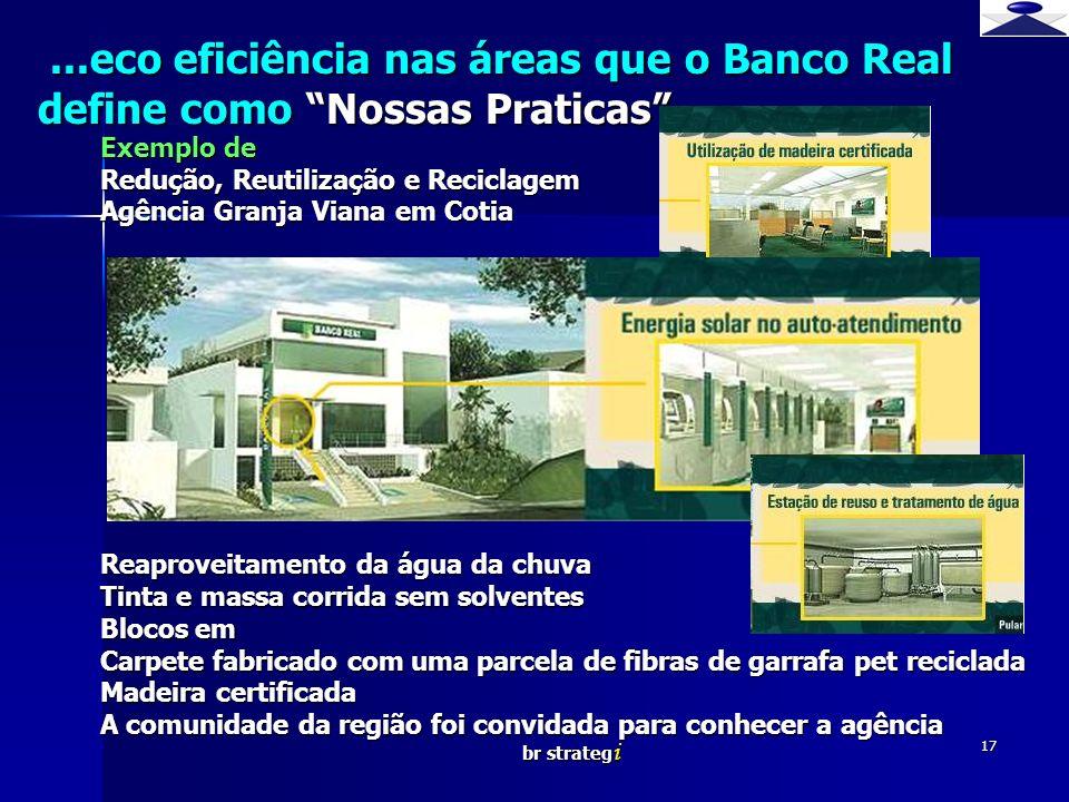 ...eco eficiência nas áreas que o Banco Real define como Nossas Praticas