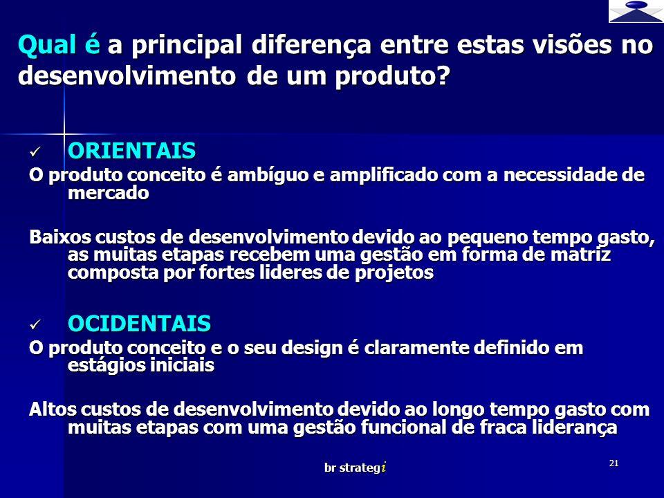 Qual é a principal diferença entre estas visões no desenvolvimento de um produto