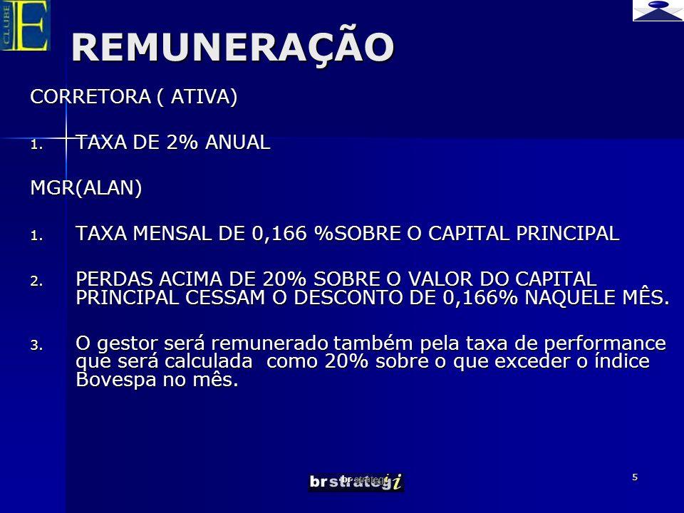REMUNERAÇÃO CORRETORA ( ATIVA) TAXA DE 2% ANUAL MGR(ALAN)