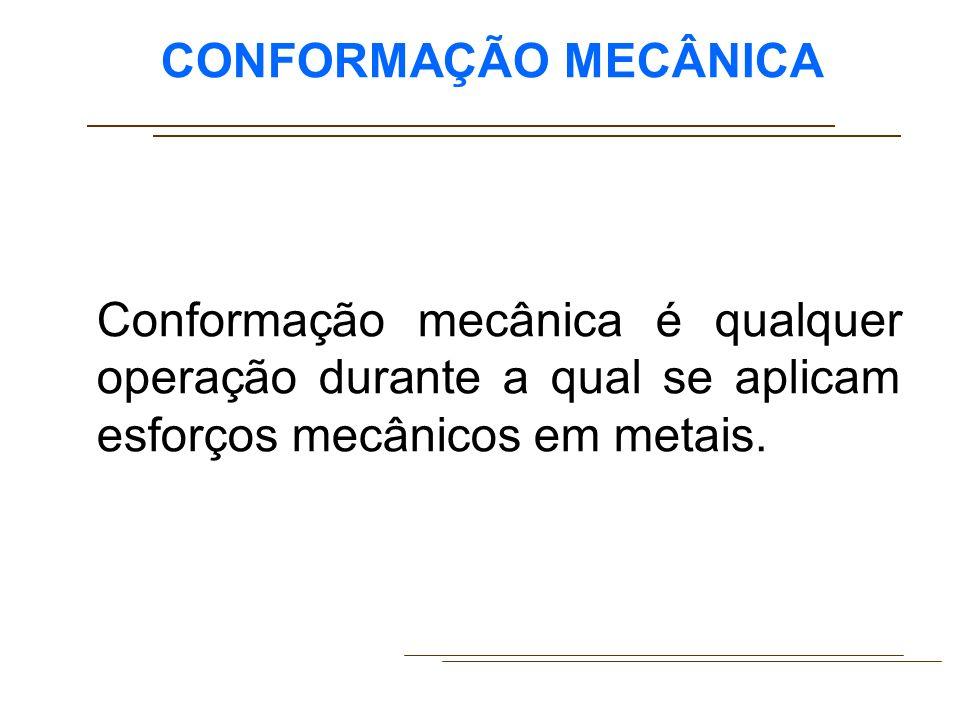 CONFORMAÇÃO MECÂNICA Conformação mecânica é qualquer operação durante a qual se aplicam esforços mecânicos em metais.
