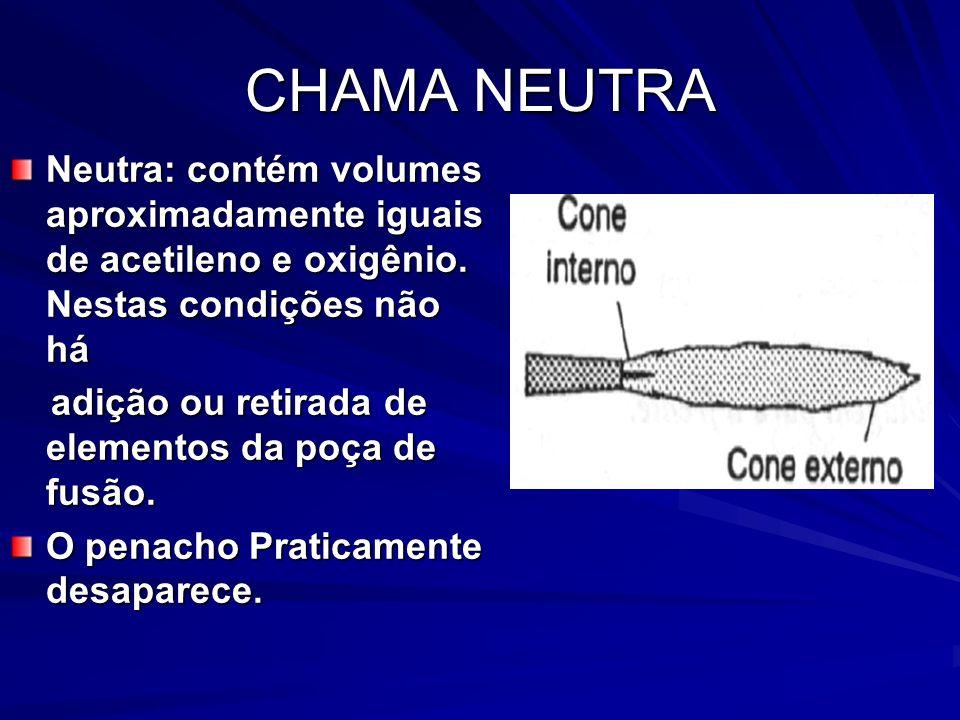 CHAMA NEUTRA Neutra: contém volumes aproximadamente iguais de acetileno e oxigênio. Nestas condições não há.