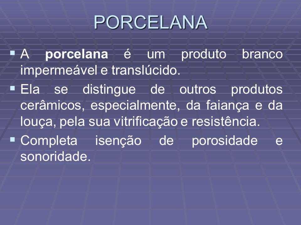 PORCELANA A porcelana é um produto branco impermeável e translúcido.