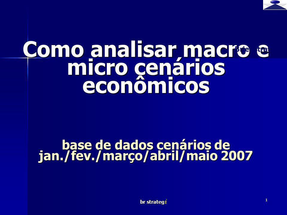 Brief strategy Como analisar macro e micro cenários econômicos base de dados cenários de jan./fev./março/abril/maio 2007.