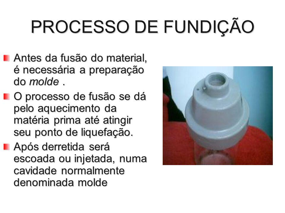 PROCESSO DE FUNDIÇÃO Antes da fusão do material, é necessária a preparação do molde .