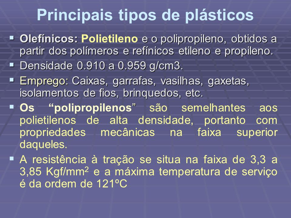 Principais tipos de plásticos