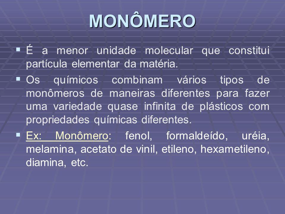 MONÔMERO É a menor unidade molecular que constitui partícula elementar da matéria.