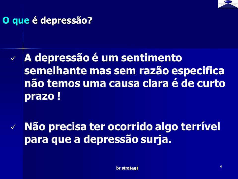 Não precisa ter ocorrido algo terrível para que a depressão surja.