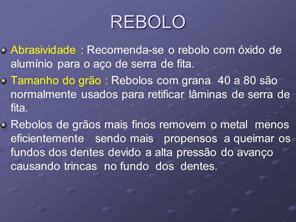 REBOLO Abrasividade : Recomenda-se o rebolo com óxido de alumínio para o aço de serra de fita.