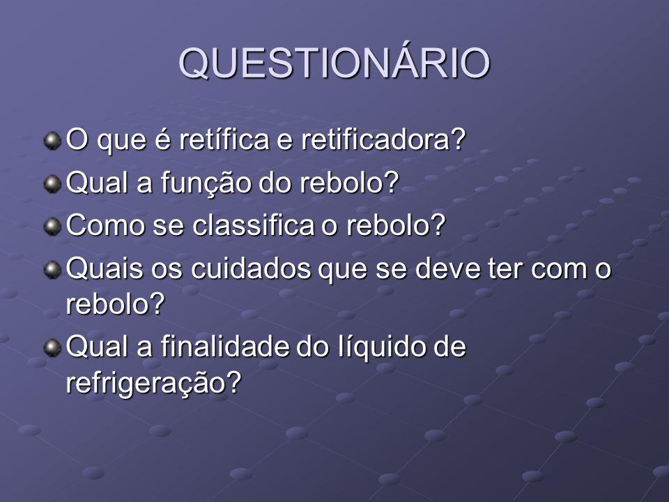 QUESTIONÁRIO O que é retífica e retificadora Qual a função do rebolo
