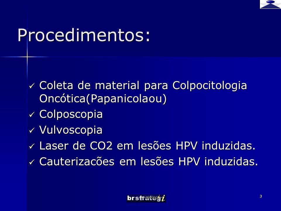 Procedimentos: Coleta de material para Colpocitologia Oncótica(Papanicolaou) Colposcopia. Vulvoscopia.