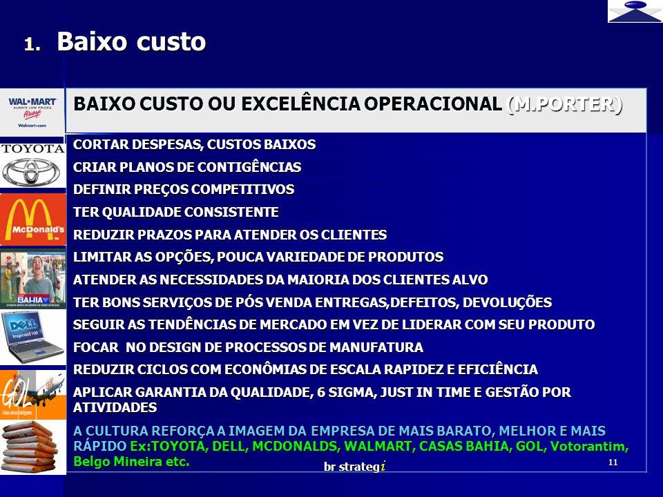 Baixo custo BAIXO CUSTO OU EXCELÊNCIA OPERACIONAL (M.PORTER)