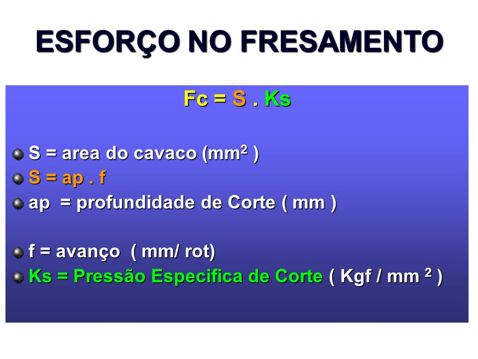 ESFORÇO NO FRESAMENTO Fc = S . Ks S = area do cavaco (mm2 ) S = ap . f