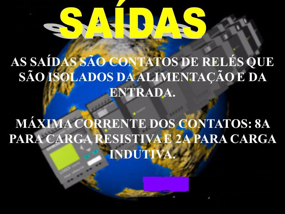 SAÍDAS AS SAÍDAS SÃO CONTATOS DE RELÉS QUE SÃO ISOLADOS DA ALIMENTAÇÃO E DA ENTRADA.