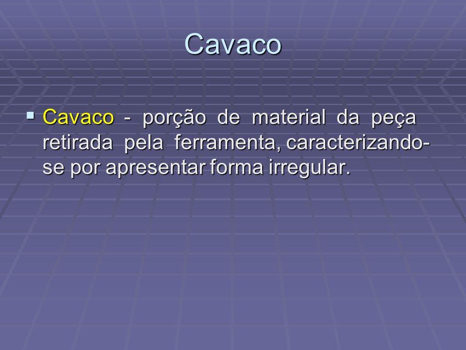 Cavaco Cavaco - porção de material da peça retirada pela ferramenta, caracterizando-se por apresentar forma irregular.
