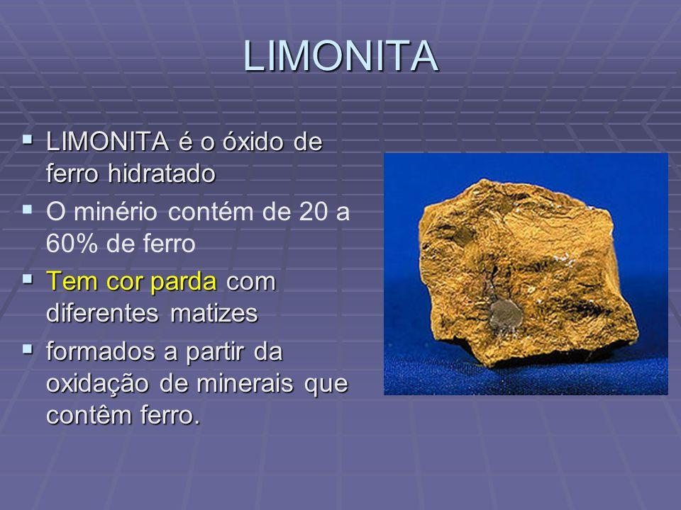 LIMONITA LIMONITA é o óxido de ferro hidratado