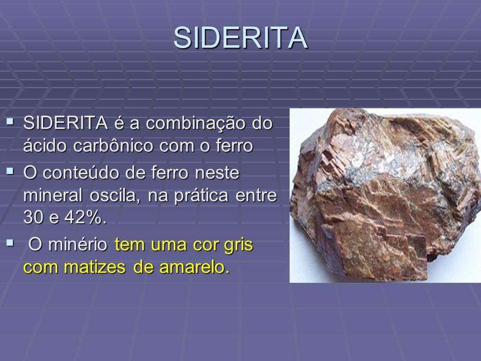 SIDERITA SIDERITA é a combinação do ácido carbônico com o ferro