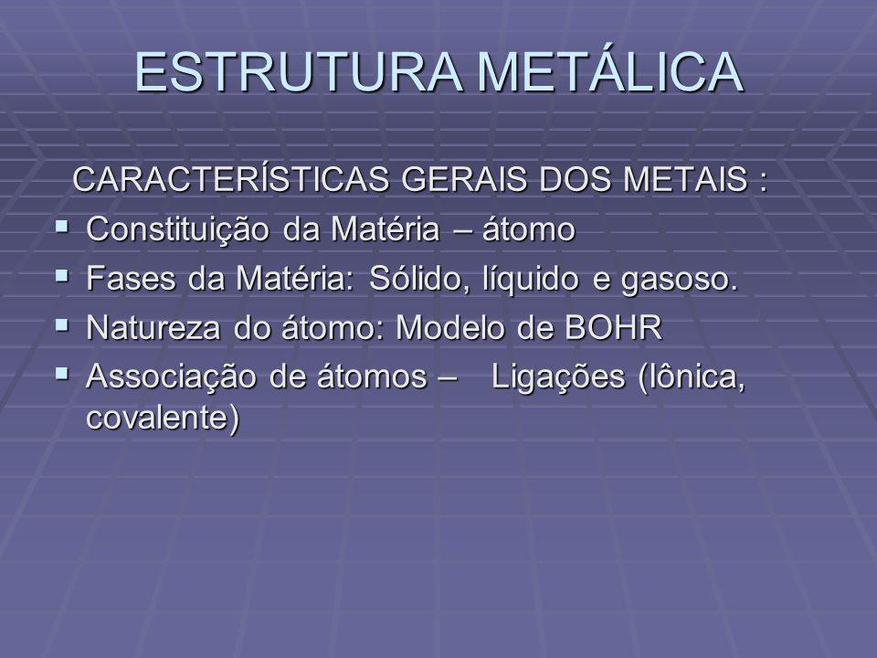 ESTRUTURA METÁLICA CARACTERÍSTICAS GERAIS DOS METAIS :