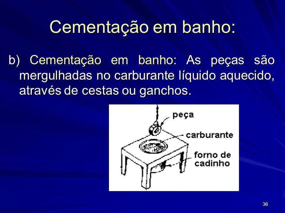 Cementação em banho: b) Cementação em banho: As peças são mergulhadas no carburante líquido aquecido, através de cestas ou ganchos.
