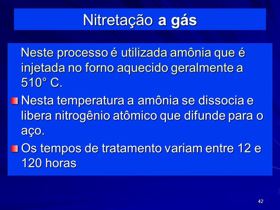 Nitretação a gás Neste processo é utilizada amônia que é injetada no forno aquecido geralmente a 510° C.