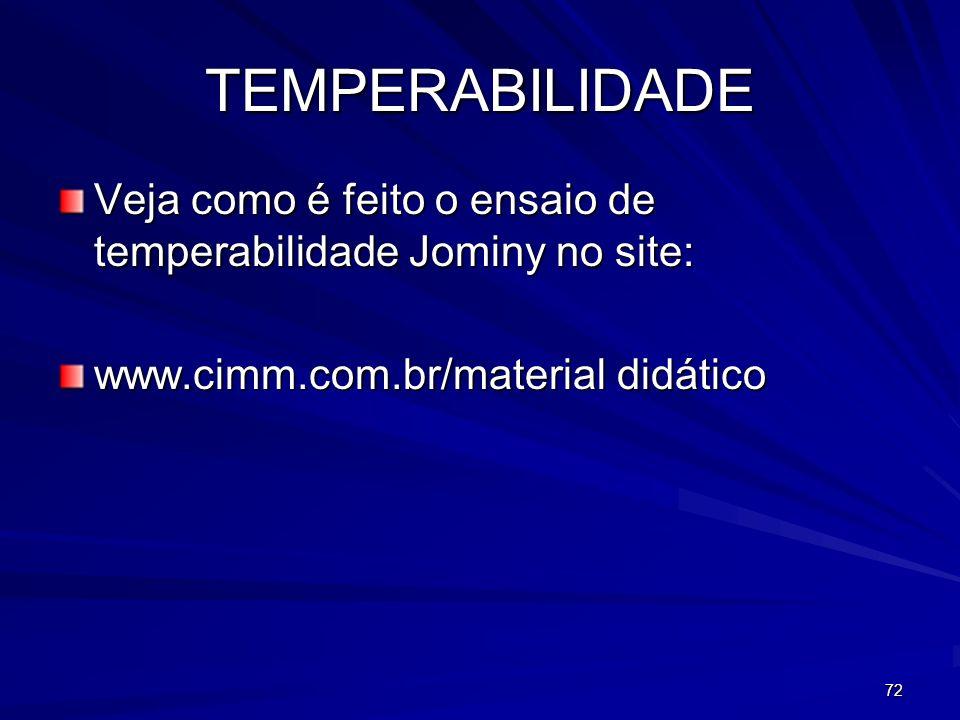 TEMPERABILIDADE Veja como é feito o ensaio de temperabilidade Jominy no site: www.cimm.com.br/material didático.
