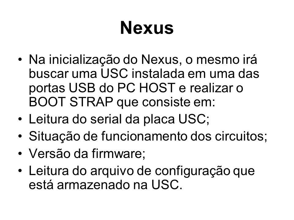 Nexus Na inicialização do Nexus, o mesmo irá buscar uma USC instalada em uma das portas USB do PC HOST e realizar o BOOT STRAP que consiste em: