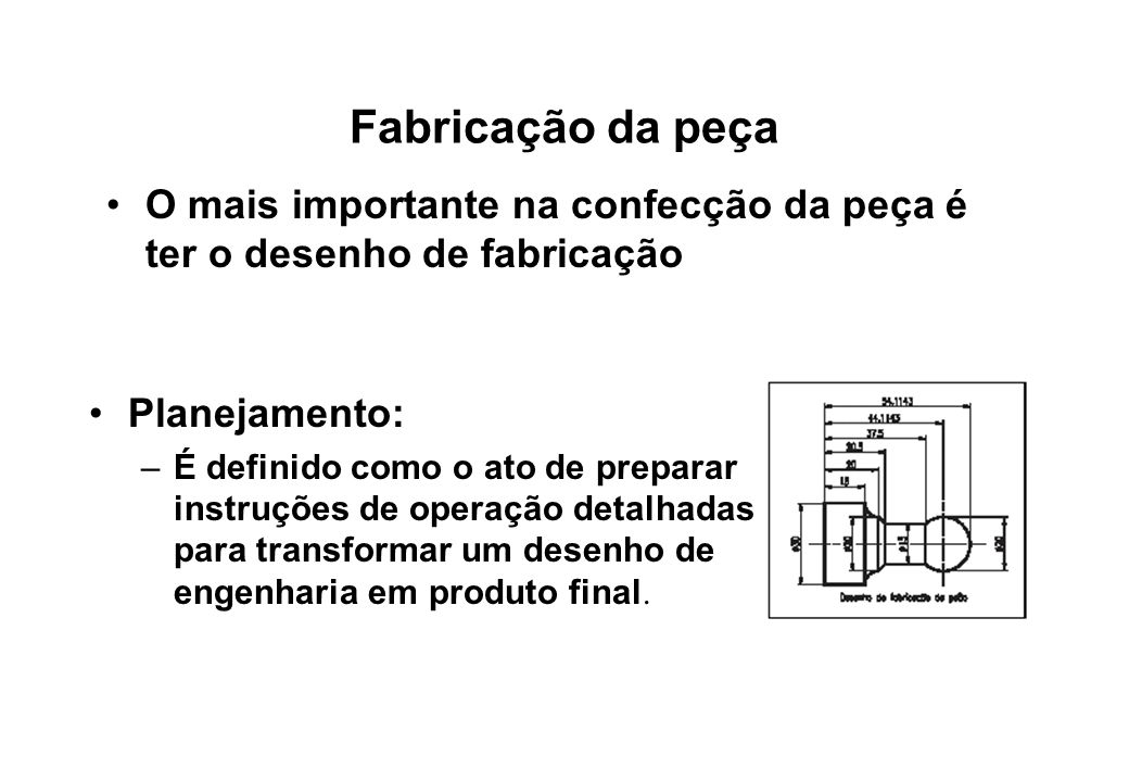 Fabricação da peça O mais importante na confecção da peça é ter o desenho de fabricação. Planejamento: