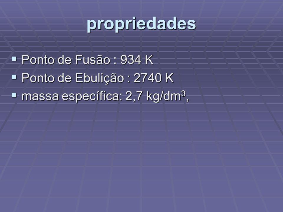 propriedades Ponto de Fusão : 934 K Ponto de Ebulição : 2740 K
