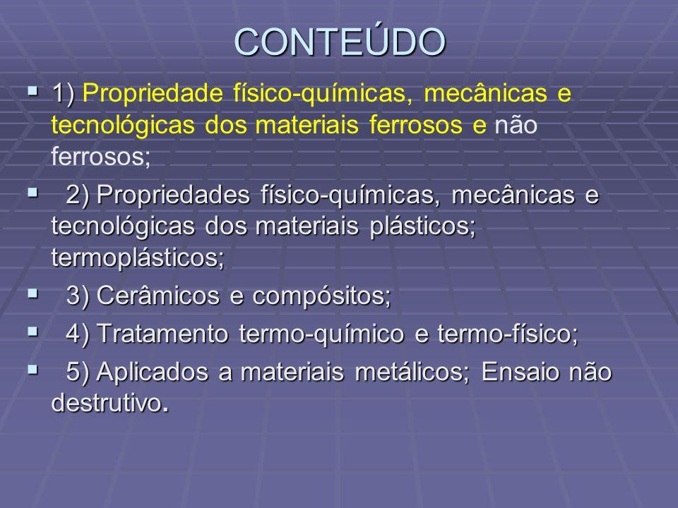 CONTEÚDO 1) Propriedade físico-químicas, mecânicas e tecnológicas dos materiais ferrosos e não ferrosos;